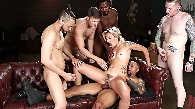 Skinny blonde gets anal fucked in rough gang bang play