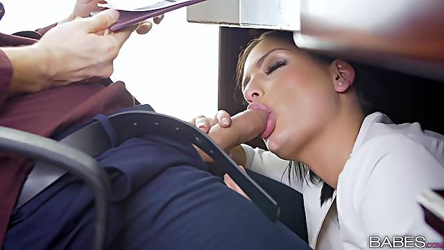 Office sex on the table with brunette secretary Annie Wolf