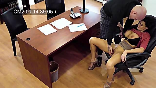 Becky Bandini's rough office fuck caught on hidden camera