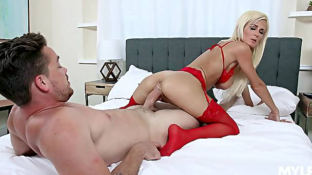 a younger man brings out the best in lingerie-clad Olivia Blu