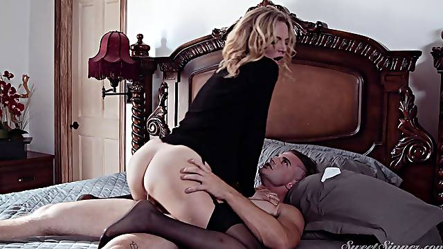 The way mommy rides leads the step son to an amazing orgasm