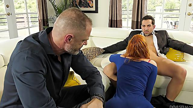 Redhead fucked in front of her hubby in a sensual cuckold