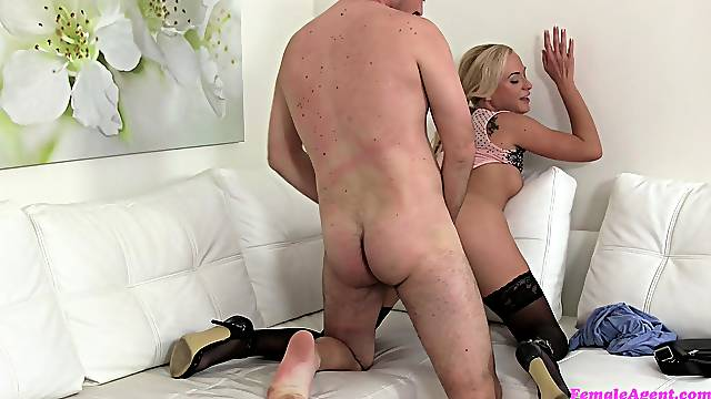 Sexy agent Cristal Caitlin tests a young buck's sexual aptitude