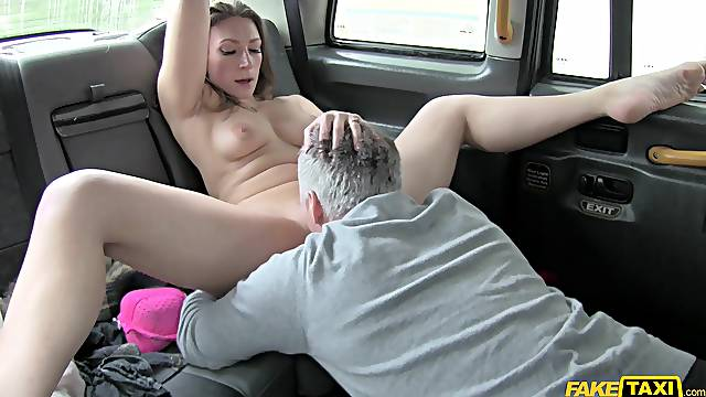 Ava Austen licks cabbie's ass and allows him to fuck her hard
