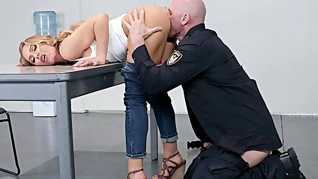 Milf leaves horny cop to ruin her tight pussy and ass