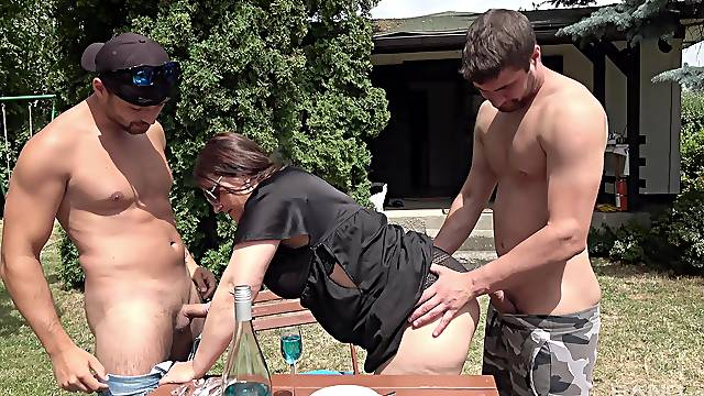 Fat ass mature gets laid with two hung men
