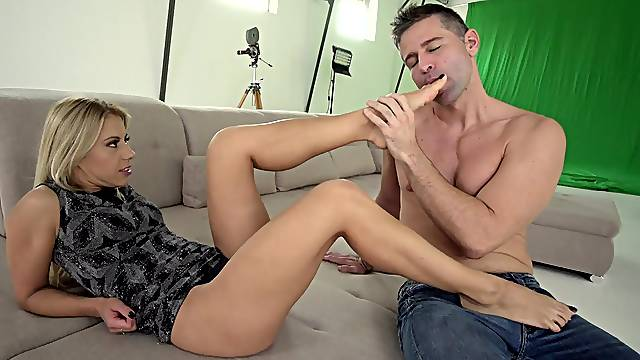 Blonde beauty works the cock in all possible modes