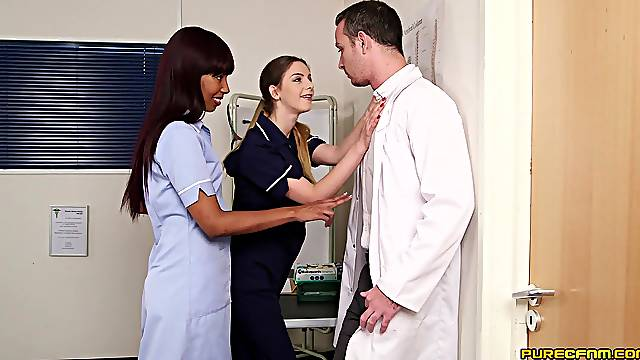 Two hot women share dick in the Hospital