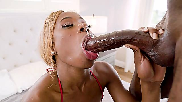Blonde ebony whore works the BBC in crazy manners