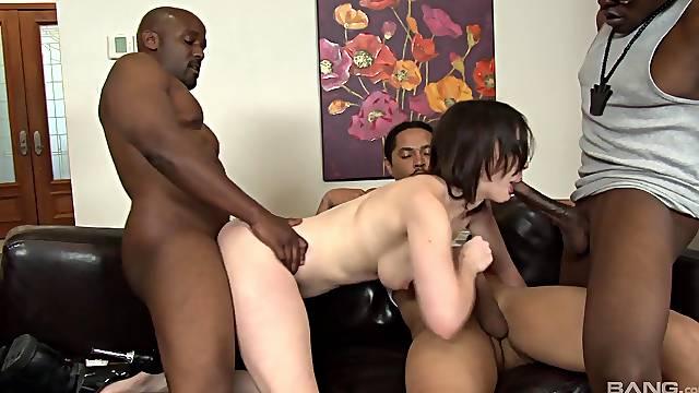 Black guys gangbang and DP sluttish brunette Jennifer White