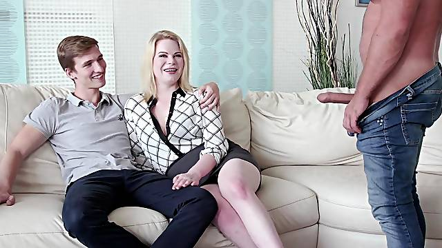 Young cuckold watches hot blonde Adry Berty getting fucked hard