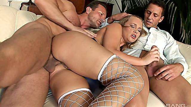 Throating cock while getting another in the ass, perfect threesome