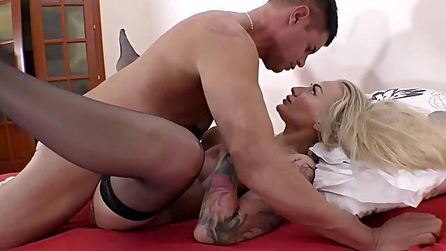 Hungarian blonde super slut tries a big dick in heavy modes