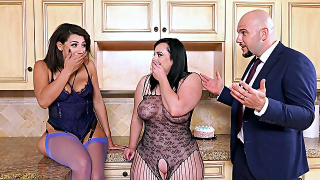 Sex in the kitchen for one chubby slut and her curvy friend