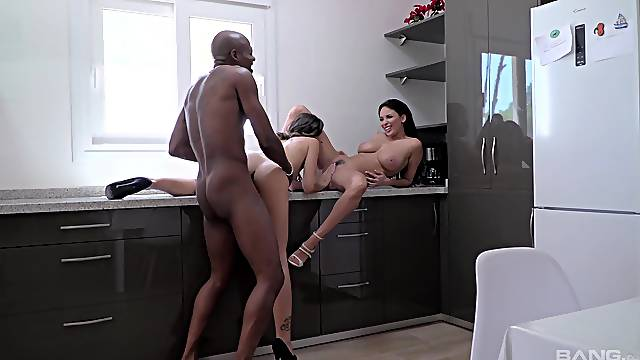 Interracial anal sex for both these slim hotties