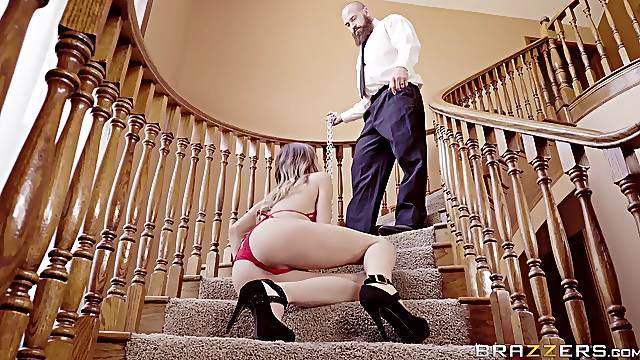 Jillian Janson rimmed and fucked on a high-toned staircase