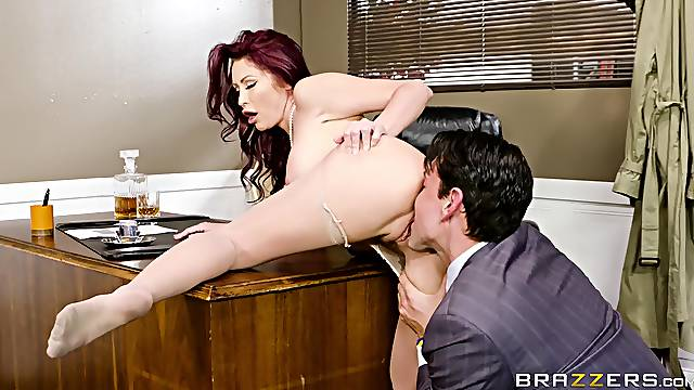 MILF soaks her face in sperm after getting laid with her boss