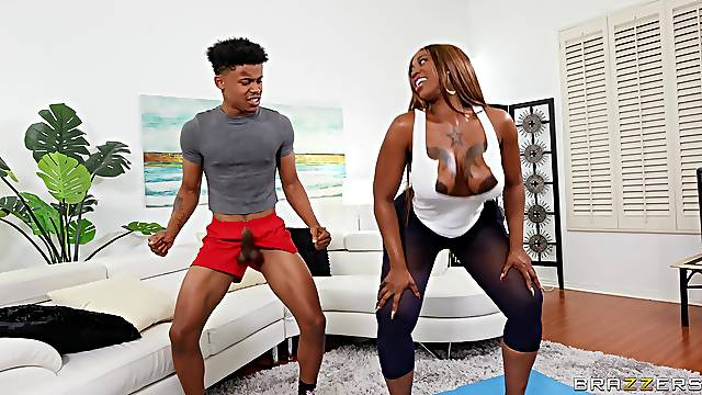 Insolent ebony mom wants the personal trainer's young dick in her fat ass