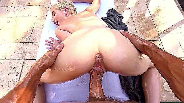 Aroused MILF spreads legs for the pool guy