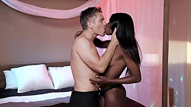 Ebony with small tits, insane POV romance