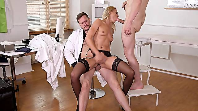 Anal sex with two men for the horny nurse
