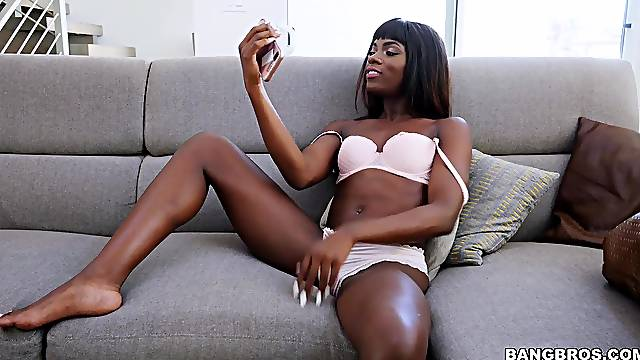 First time this thin ebony doll pumps such a big white cock in her fanny
