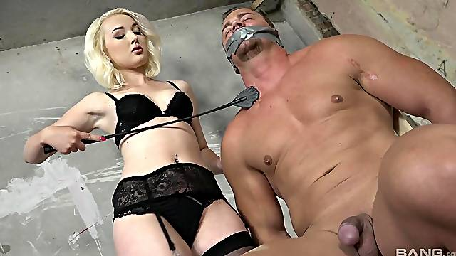 Energized blonde plays dominant with her muscular male slave