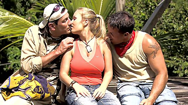 Cramped blonde with big natural tits, superb outdoor threesome