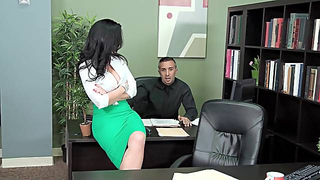 Busty Jayden Jaymes unleashes her sexuality in an office setting
