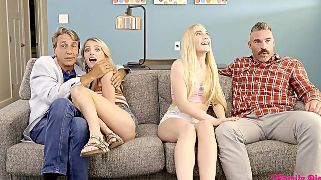 Blonde beauties share and swap in crazy XXX home foursome