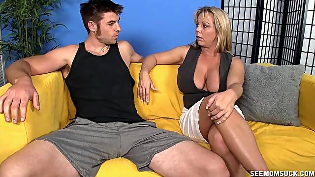 Titjob and blowjob with mommy acting so happy and pleased