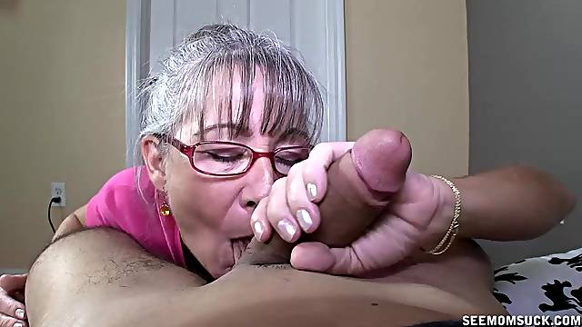 Granny sucks the life out of her nephew';s cock