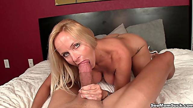 Hot MILF sucks the life out of this big dick in home POV
