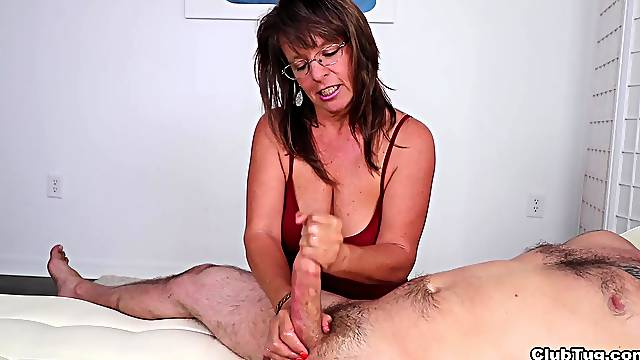 Quite the pleasure to have granny shaking your dick like that