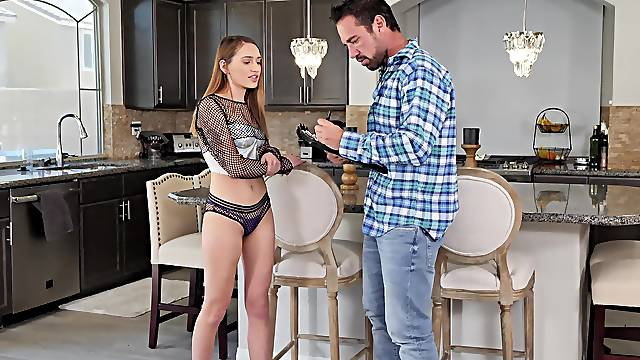 This fresh babe is energized enough to keep stepdaddy satisfied for an hour