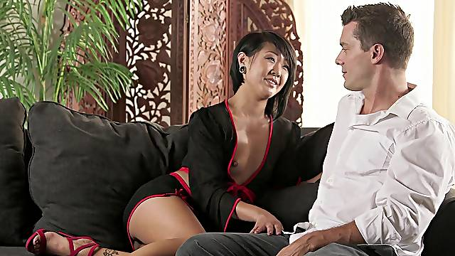 Aroused Asian woman is keen to fit this guy's dick inside her