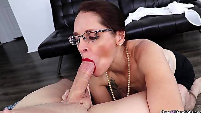 Mature sucks cock like a wild whore and craves to swallow
