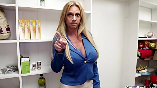 Aroused mature mom wants sperm on those fine jugs