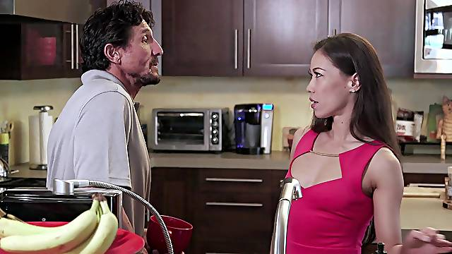 First time this Asian wife tries threesome sex