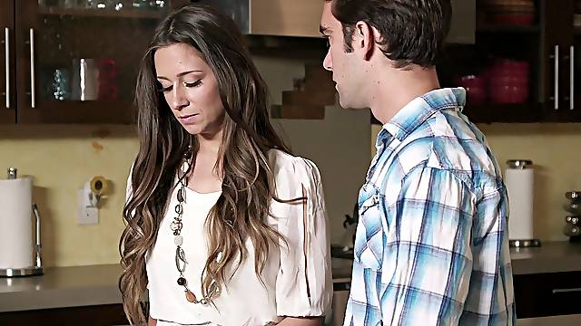 Aroused woman is keen to fuck with her stepson while cooking