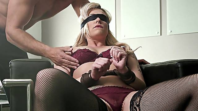 Dahlia Sky blindfolded, licked and pounded in a plethora of positions