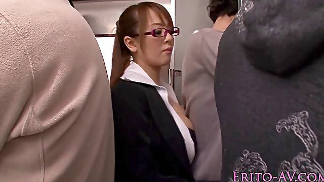 Asian with a great chest sucking cock on a train