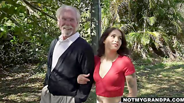 Step-grandpa knows how to handle a young pussy