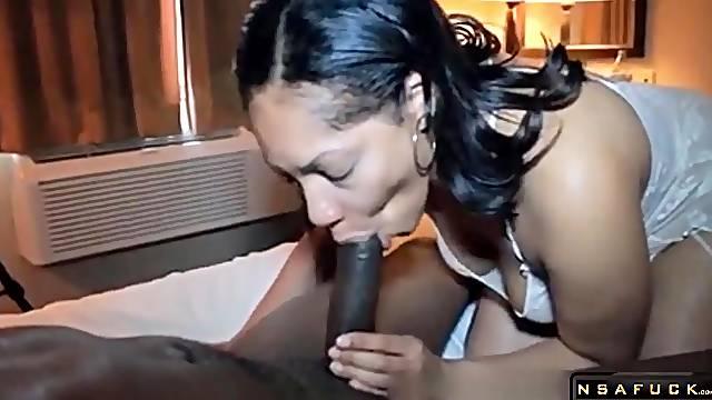 Chubby ebony milf sucks big cock