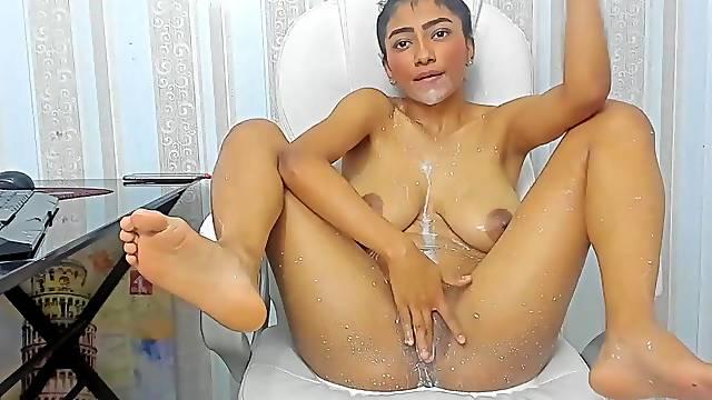 Nasty milk spill on her body