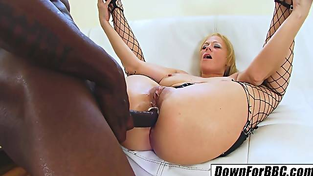DOWN FOR BBC: Sunny Day old lady fucks black pool guy anal