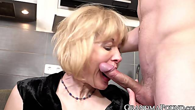 Seductive lingerie granny fucked with big strap on after BJ
