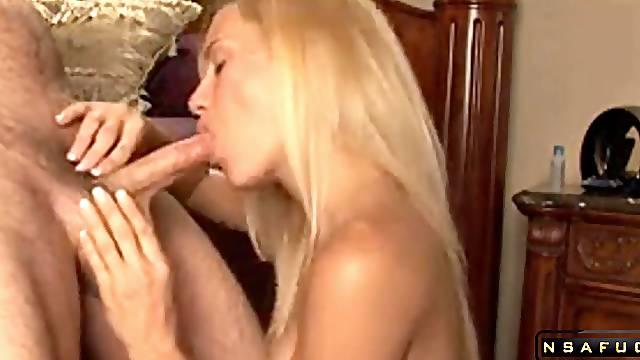 Sweet blonde milf sucking till massive facial