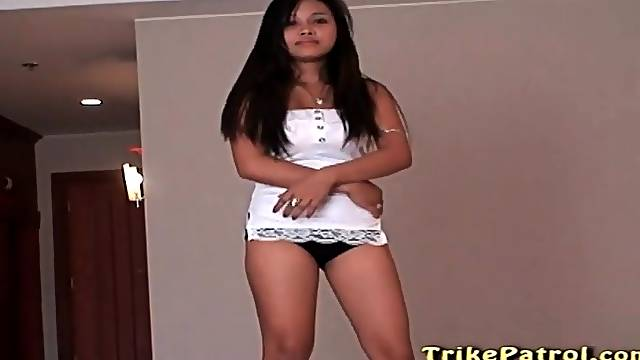 Filipina in hotel room models black panties