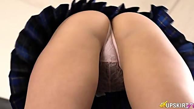 Schoolgirl tempts you with her lace panties
